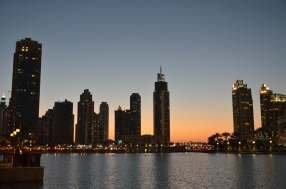 Atardecer en Dubai Fountain